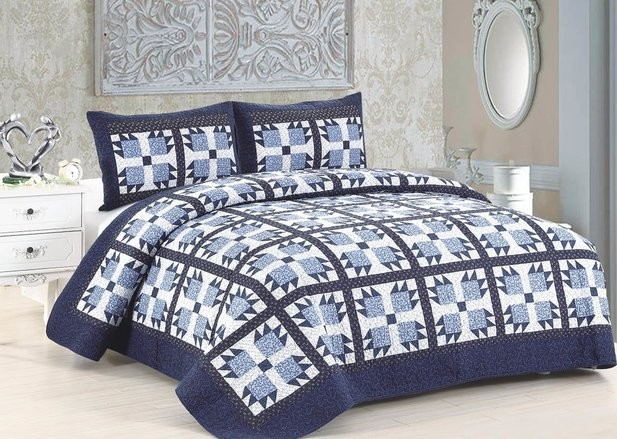 blue whitney king size quilt set includes 2 standard pillow shams