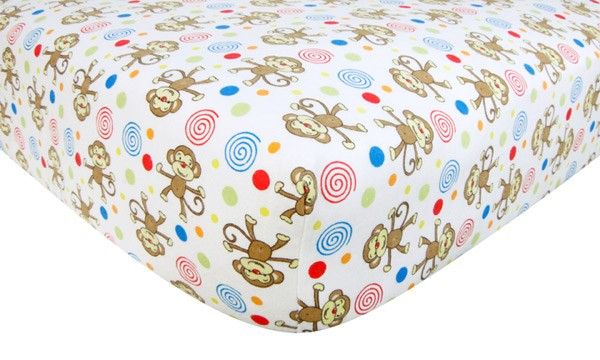 Crib Sheet - Monkey Print Flannel