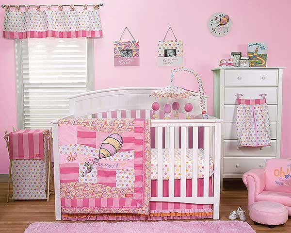 DR. SEUSS PINK OH, THE PLACES YOU'LL GO! - 3 PIECE CRIB BEDDING SET