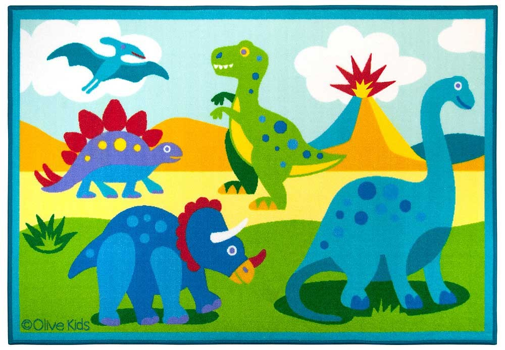 Olive kids accent rug dinosaur land kids room rugs for Dinosaur pictures for kids room