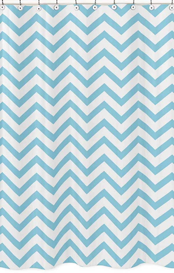 Turquoise White Chevron Print Shower Curtain Blanket Warehouse