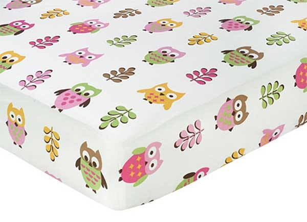Happy Owl Crib Sheet