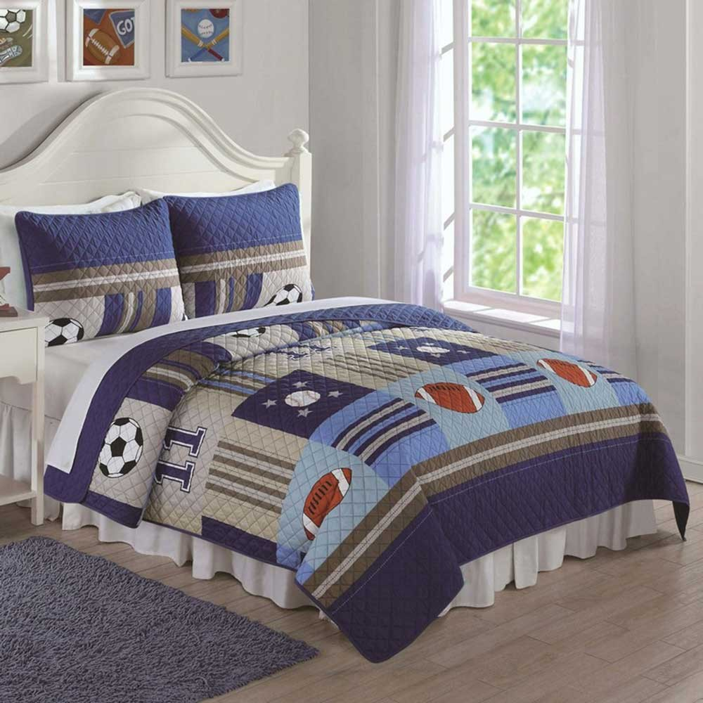 Sports bedding sets - Denim And Khaki Sports Twin Quilt And Sham