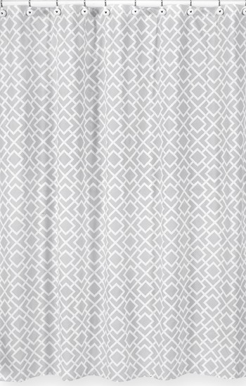 Diamond Gray & White Shower Curtain