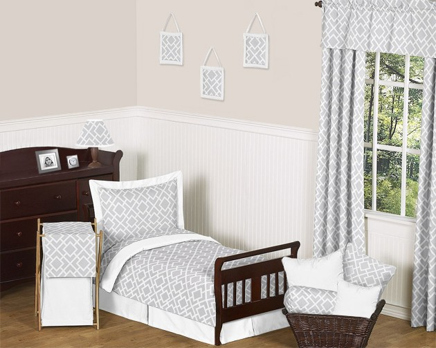 Diamond Gray & White Toddler Bedding Set