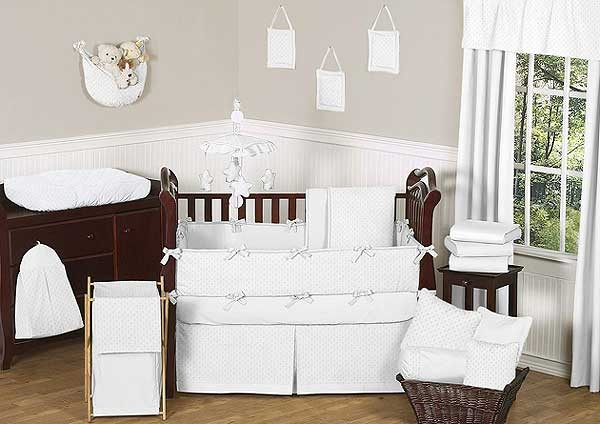 Minky Dot White Crib Bedding Set by Sweet Jojo Designs - 9 piece