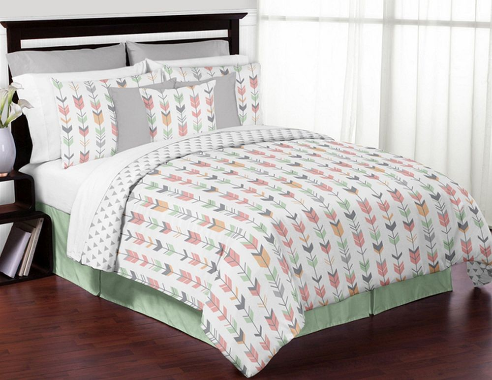 mod arrow gray coral amp mint comforter set 3 piece full