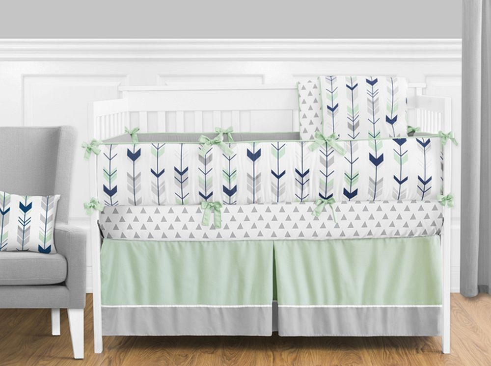 Mod Arrow Gray Navy Amp Mint Crib Bedding Set By Sweet Jojo