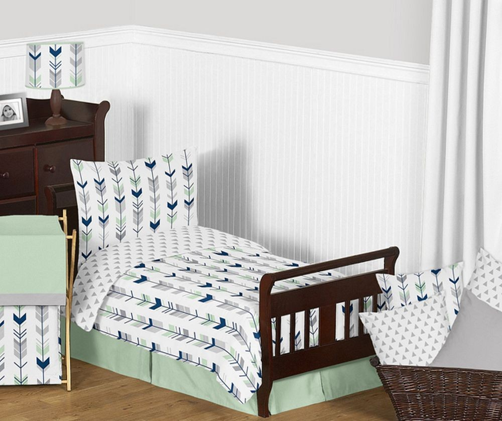 Grey Toddler Bed Bedding : Mod arrow gray navy mint toddler bedding set by sweet