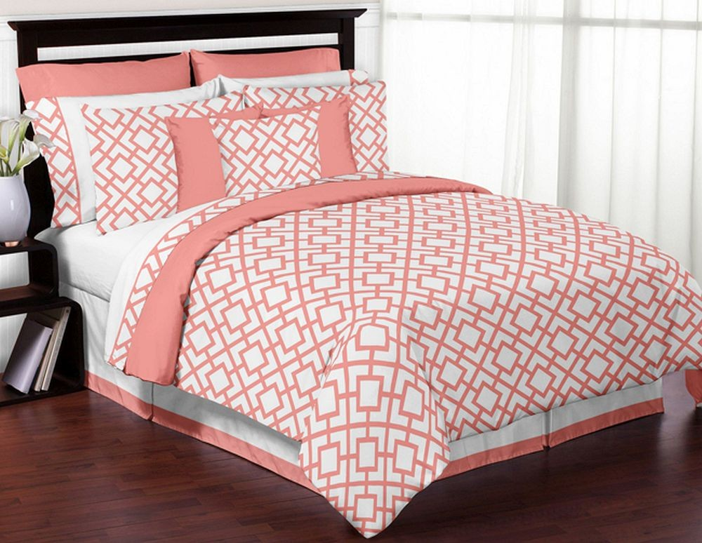 Mod Diamond White Coral Comforter Set Piece FullQueen Size - Coral colored comforter set for queen bed