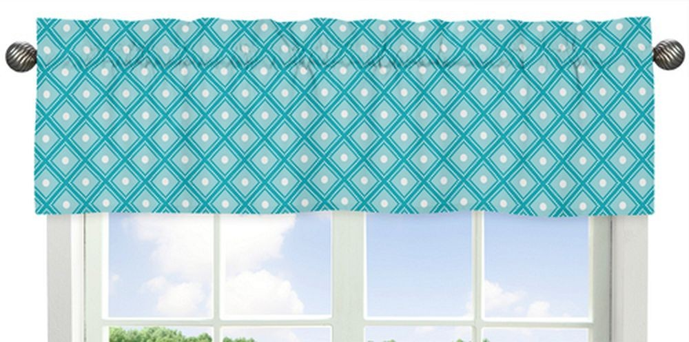 Blue and white valance
