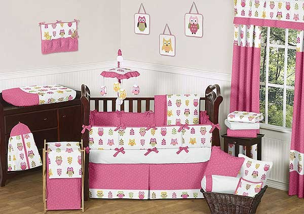 Happy Owl Crib Bedding Set by Sweet Jojo Designs - 9 piece