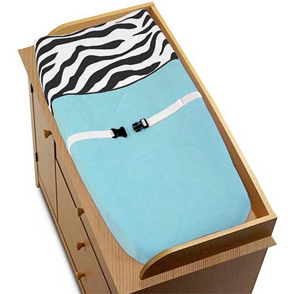 Blue Zebra Changing Pad Cover