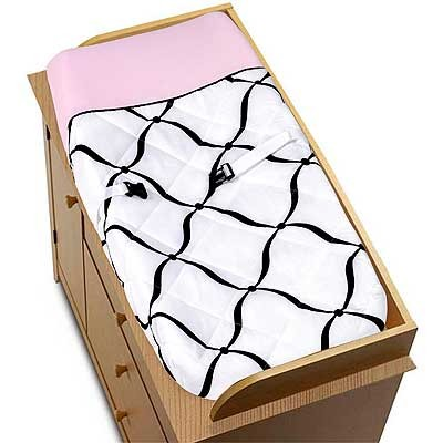 Princess Black, White and Pink Changing Pad Cover