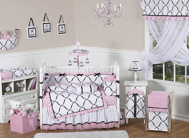 Princess Black, White and Pink Crib Bedding Set by Sweet Jojo Designs - 9 piece
