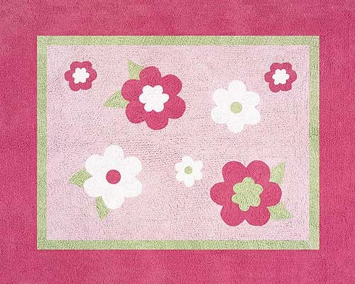 Flower Pink And Green Floor Rug