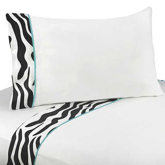 Blue Zebra Twin Size Sheet Set