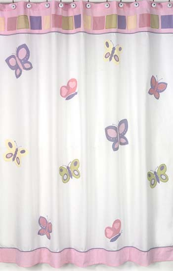 Butterfly Pink & Lavender Shower Curtain