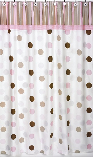 Pink and Brown Mod Dots Shower Curtain