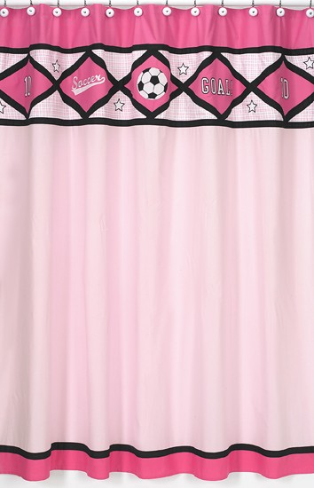 Pink Soccer Shower Curtain