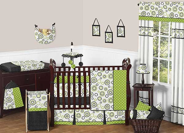 Spirodot Lime Crib Bedding Set by Sweet Jojo Designs - 9 piece