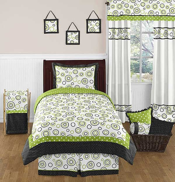 Spirodot Lime Comforter Set - 4 Piece Twin Size by Sweet Jojo Designs
