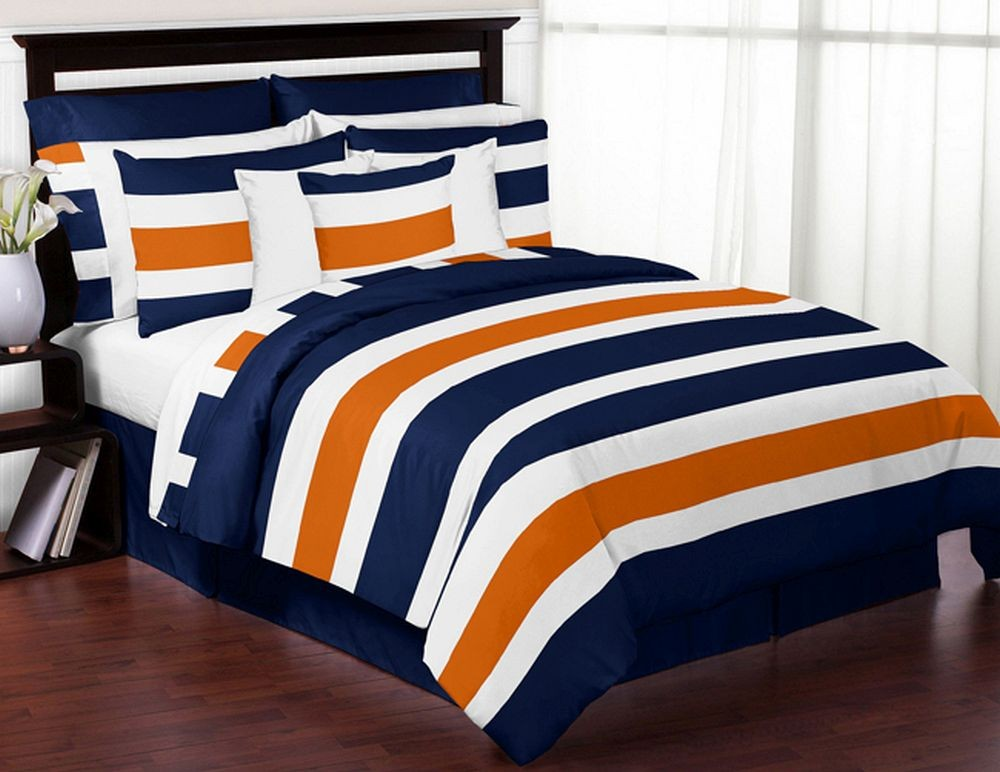 Navy Amp Orange Stripe Comforter Set 3 Piece Full Queen
