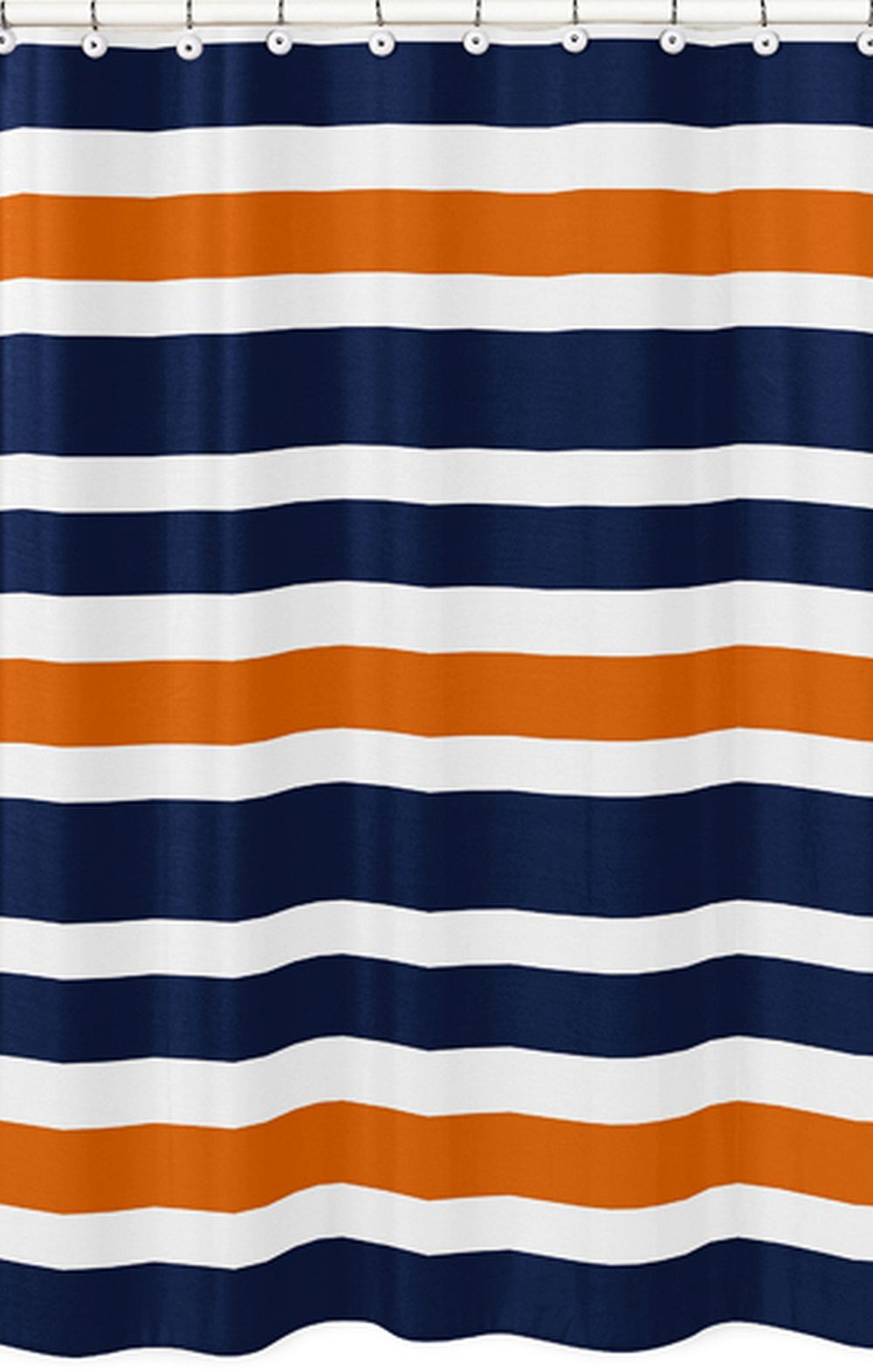 Navy Orange Stripe Shower Curtain Blanket Warehouse