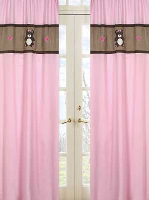 Teddy Bear Pink Window Panels