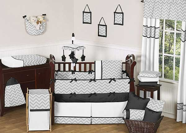 Zig Zag Black & Gray Chevron Print Crib Bedding Set