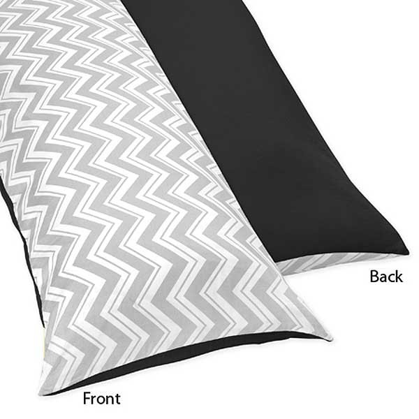 Zig Zag Black & Gray Chevron Print Body Pillow Cover