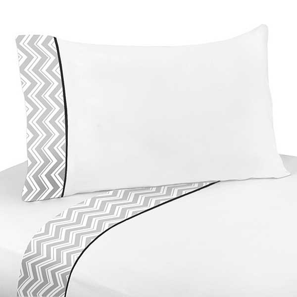 Zig Zag Black & Gray Chevron Print Twin Size Sheet Set
