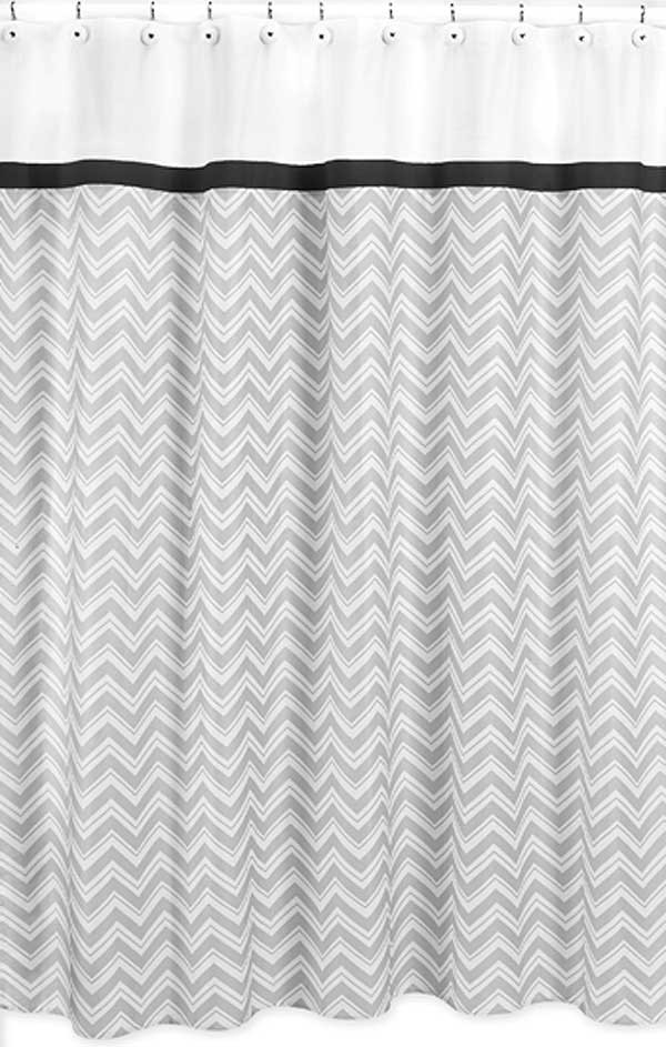 Zig Zag Black & Gray Chevron Print Shower Curtain