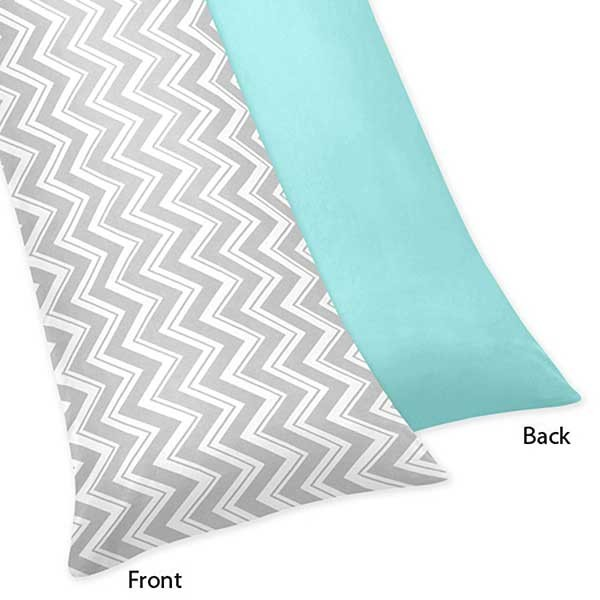 Zig Zag Turquoise & Gray Chevron Print Body Pillow Cover