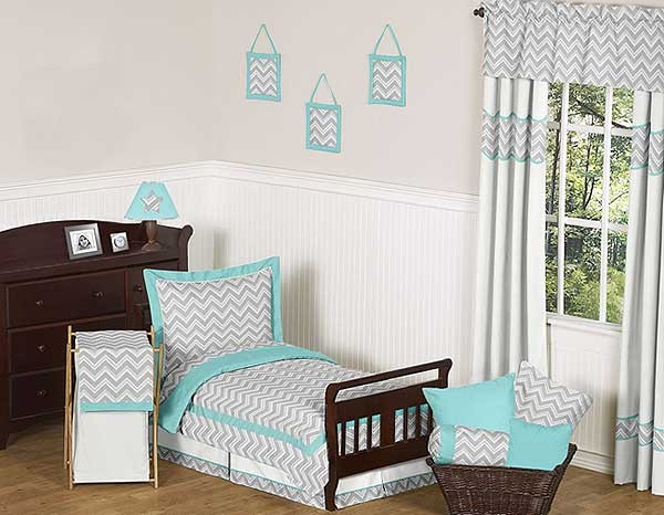 Zig Zag Turquoise & Gray Chevron Print Toddler Bed Set