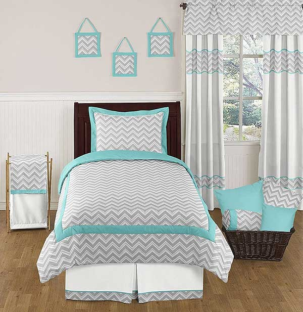 Zig Zag Turquoise Gray Chevron Comforter Set Twin Size Bedding Set Teen Bedding
