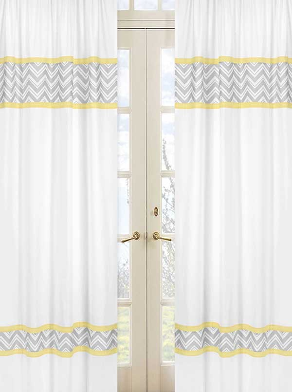 Zig Zag Yellow & Gray Chevron Print Window Panels