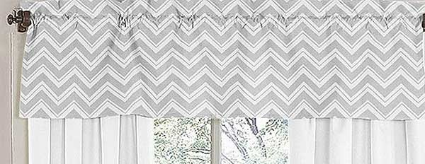 Zig Zag Yellow & Gray Chevron Print Valance