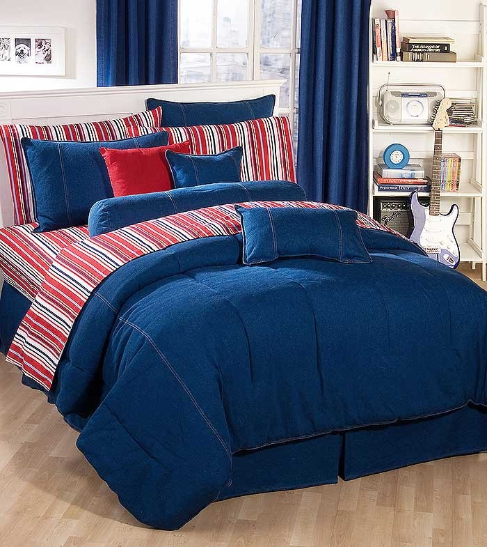 American Denim Comforter for College Dorm Rooms - XL Twin Size