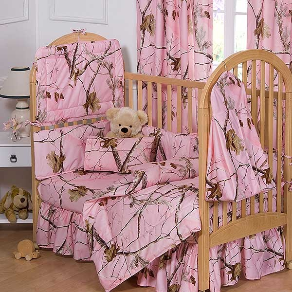 AP Pink Camo 3 Piece Crib Set