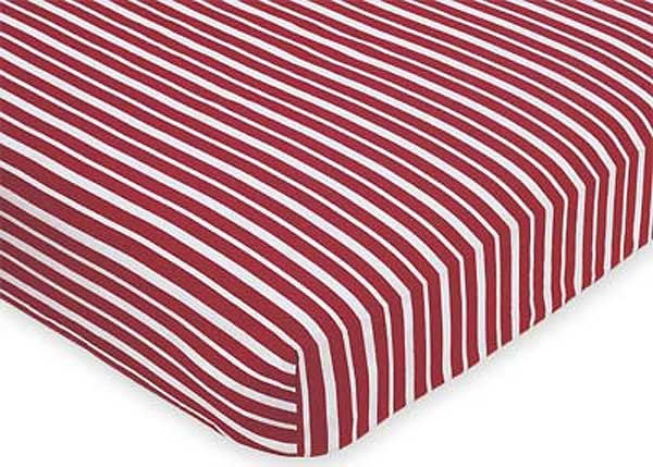 Aviator Crib Sheet - Red Stripe Print