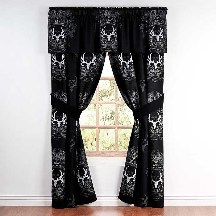 Bone Collector Black Curtain Panels