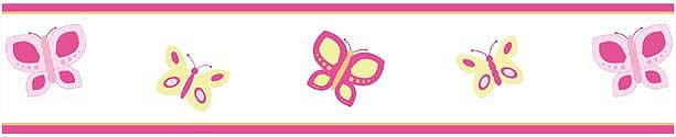 Butterfly Pink And Orange Wall Border