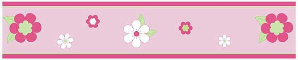 Flower Pink And Green Wall Border
