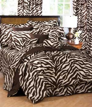 Brown & Cream Zebra Print Bed in a Bag Set - Twin Size