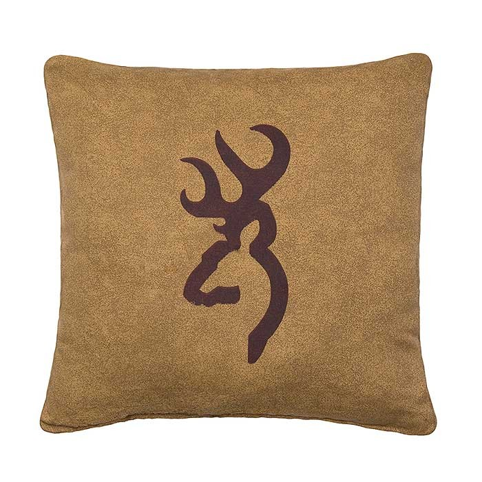 Browning Buckmark Burgundy Square Logo Pillow - Tan Background