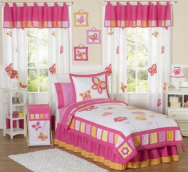 Butterfly Pink & Orange Comforter Set - 3 Piece Full/Queen Size By Sweet Jojo Designs