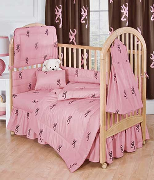 Browning Buckmark Pink 3 Piece Crib Set