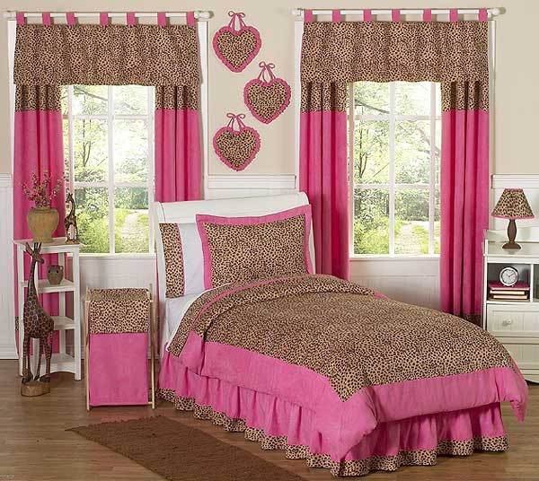 cheetah pink animal print bedding set 3 piece full queen size by
