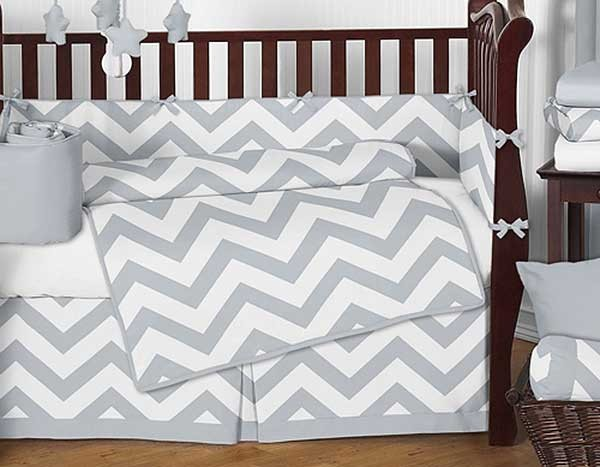 Grey Amp White Chevron Print Crib Bedding Set Blanket